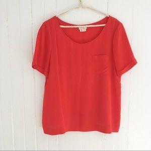 Kate Spade Red Silk Short Sleeve Top